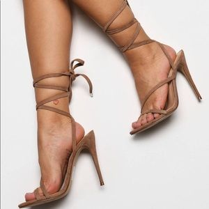 Steve Madden Amberlyn tan suede strappy heels - 7